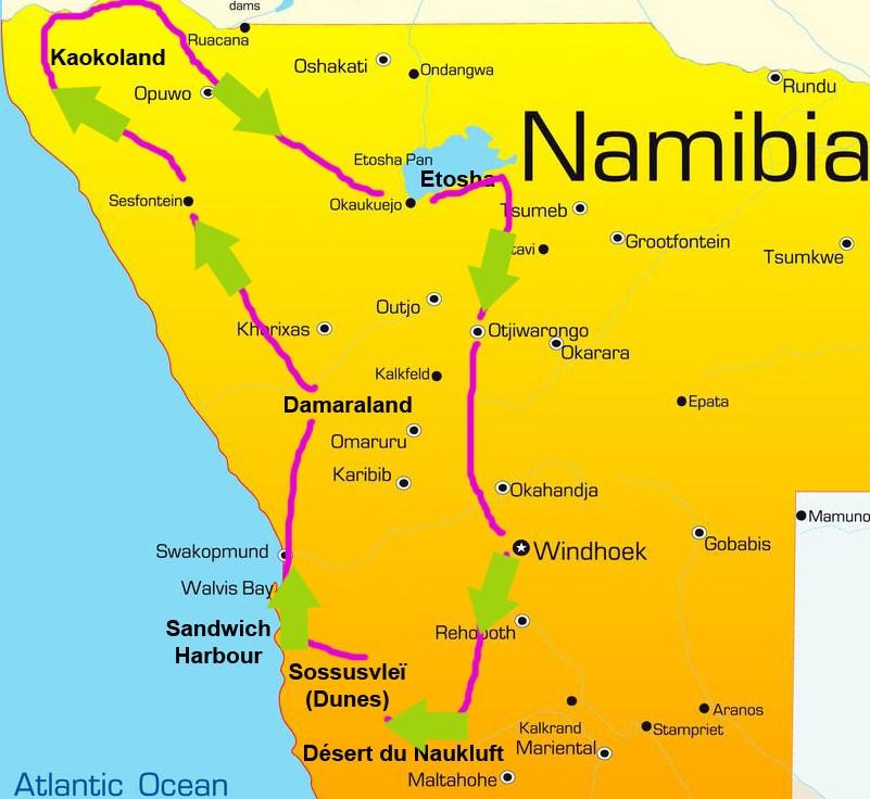 Carte voyage Namibie Kaokoland