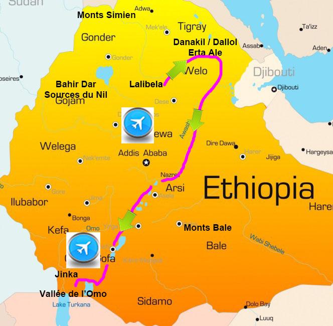 Carte voyage Ethiopie Nord Sud