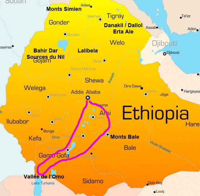 Carte Voyage Ethiopie Sud Samsara