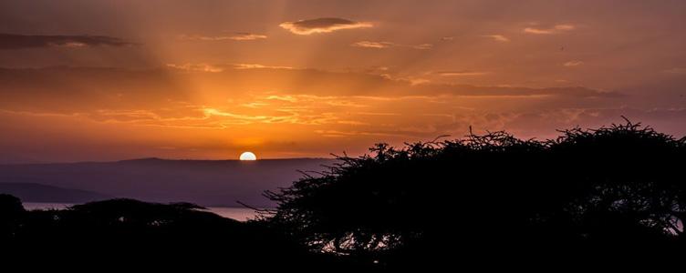 Coucher de soleil sur le lac Langano
