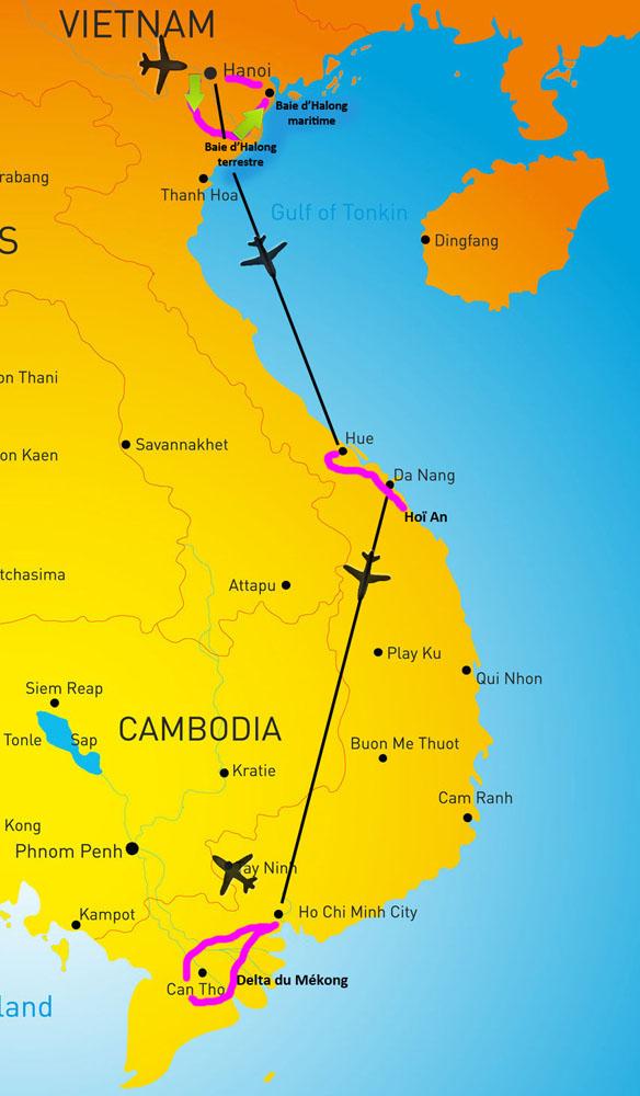 Carte séjour essentiel nord sud Vietnam samsara
