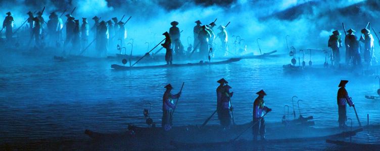 Spectacle son et lumière à Yangshuo Samsara Voyages