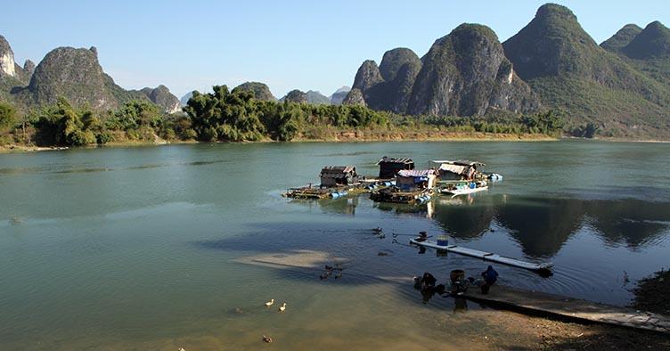 Guangxi en Chine sur la riviere Li