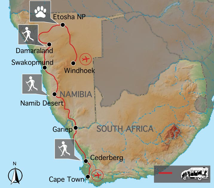 Carte du Cap à la Namibie Confort