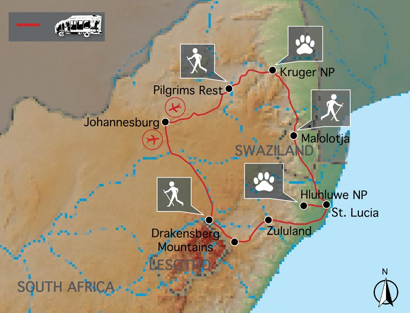 Carte voyage rando trek Afrique du Sud