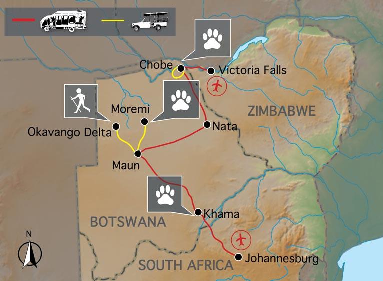 Carte du voyage Botswana et Chutes Victoria confort