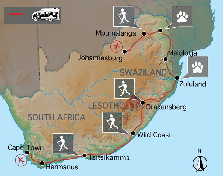 Carte du voyage en Afrique du Sud