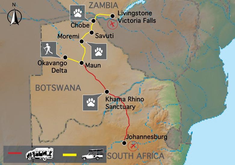 Carte Botswana Chutes Victoria