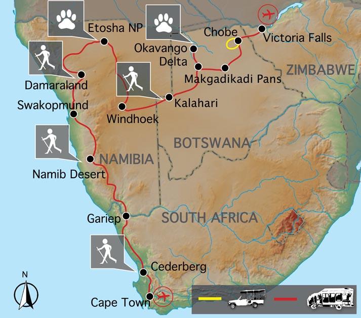 Carte du voyage du Cap aux Chutes Victoria