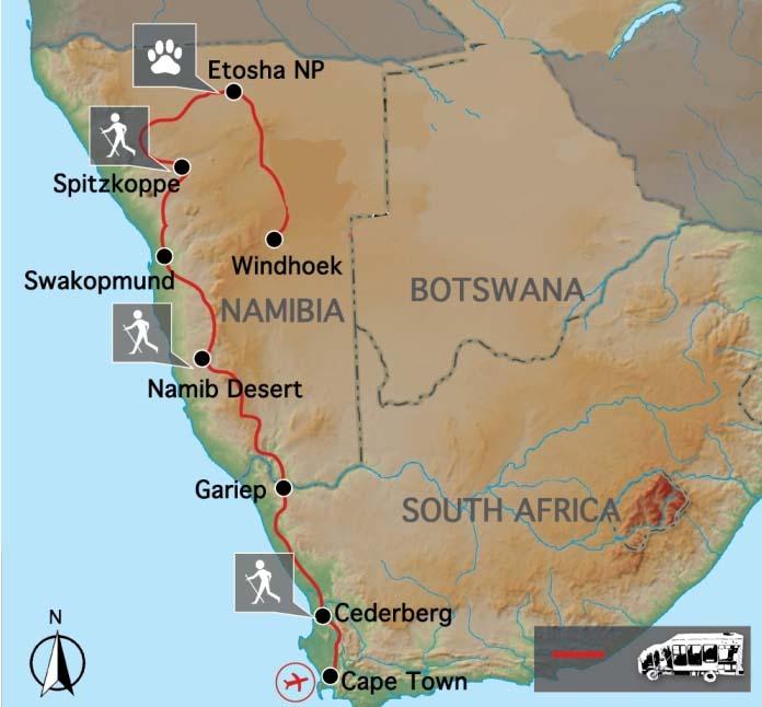 Carte du Cap à la Namibie
