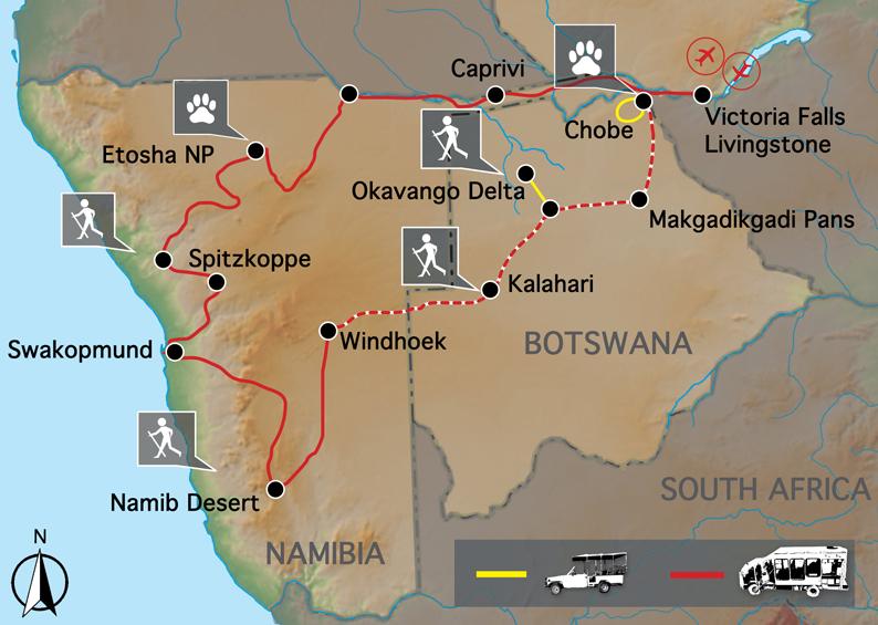 Carte Chutes victoria et Namibie