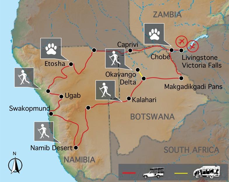 Carte voyage Namibie Botswana et Chutes Victoria