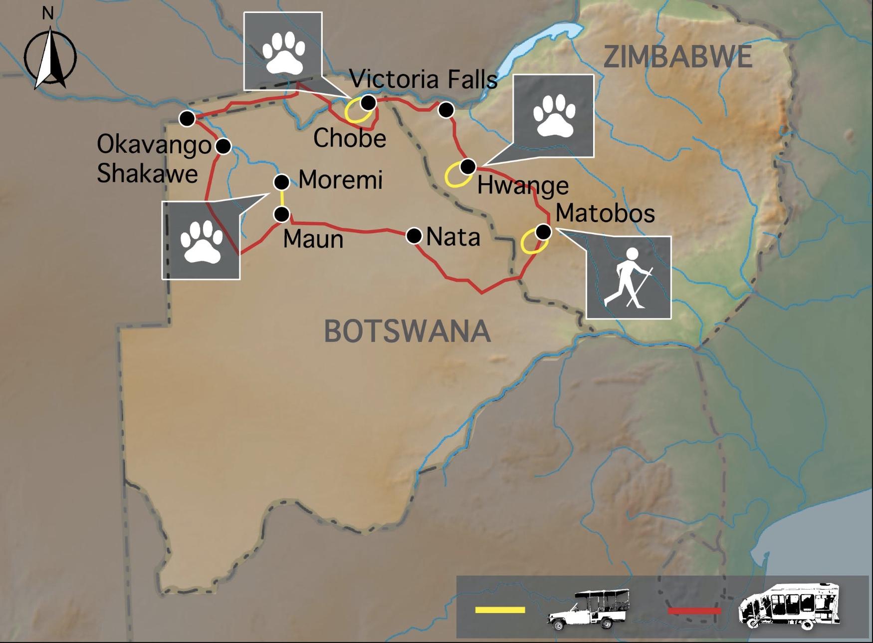 Carte voyage Safari Botswana Zimbabwe Samsara