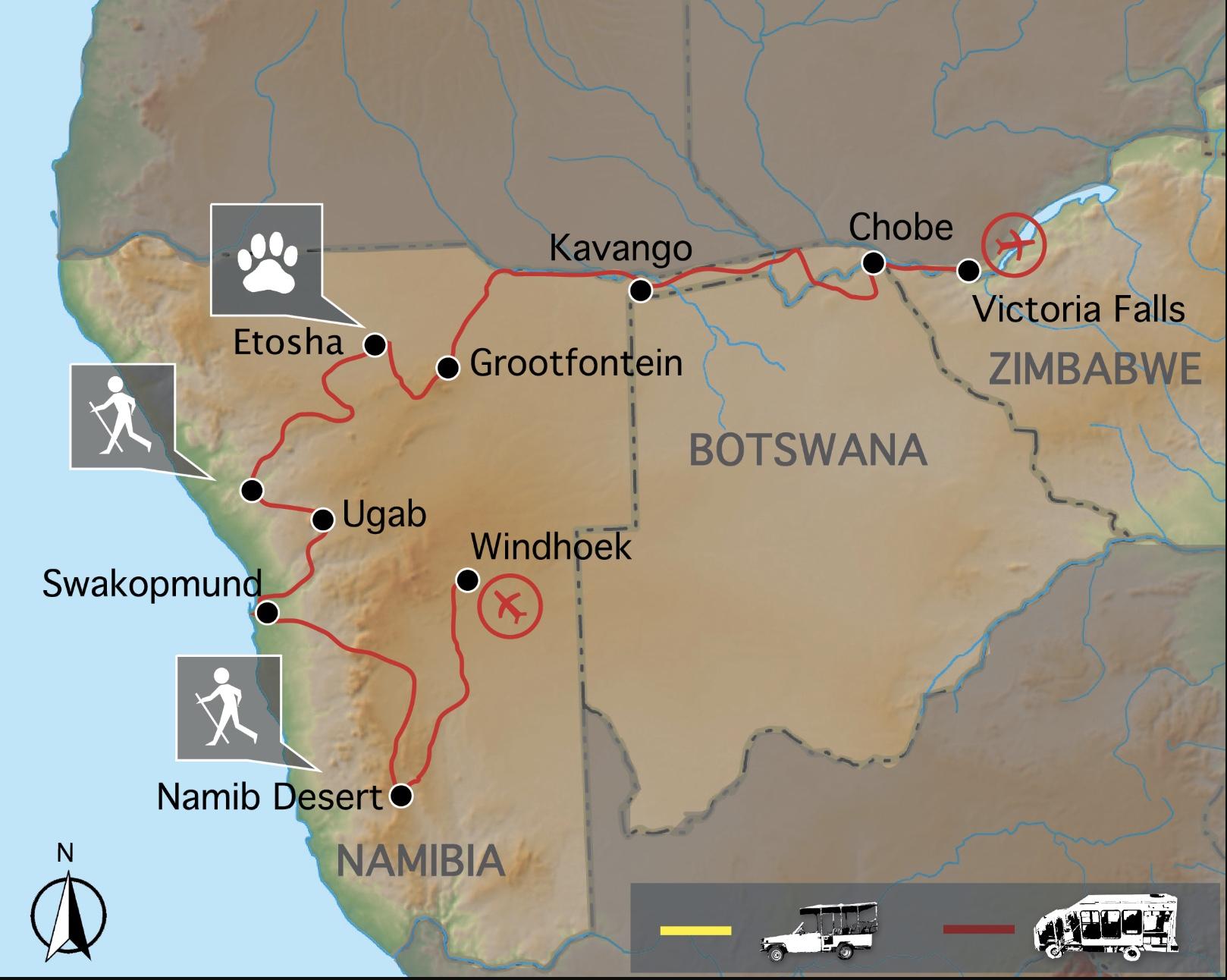 Carte voyage Namibie Botswana Zimbabwe