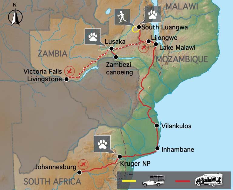 Carte voyage Zambie Malawi