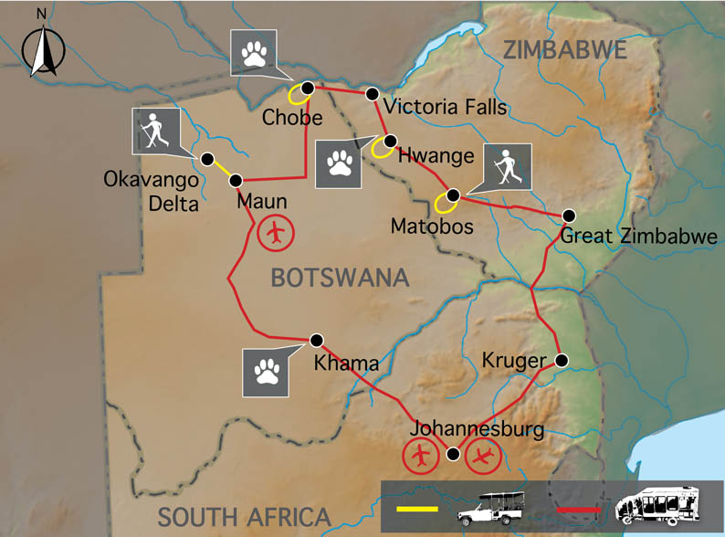 Carte Zimbabwe Chutes Victoria et Botswana