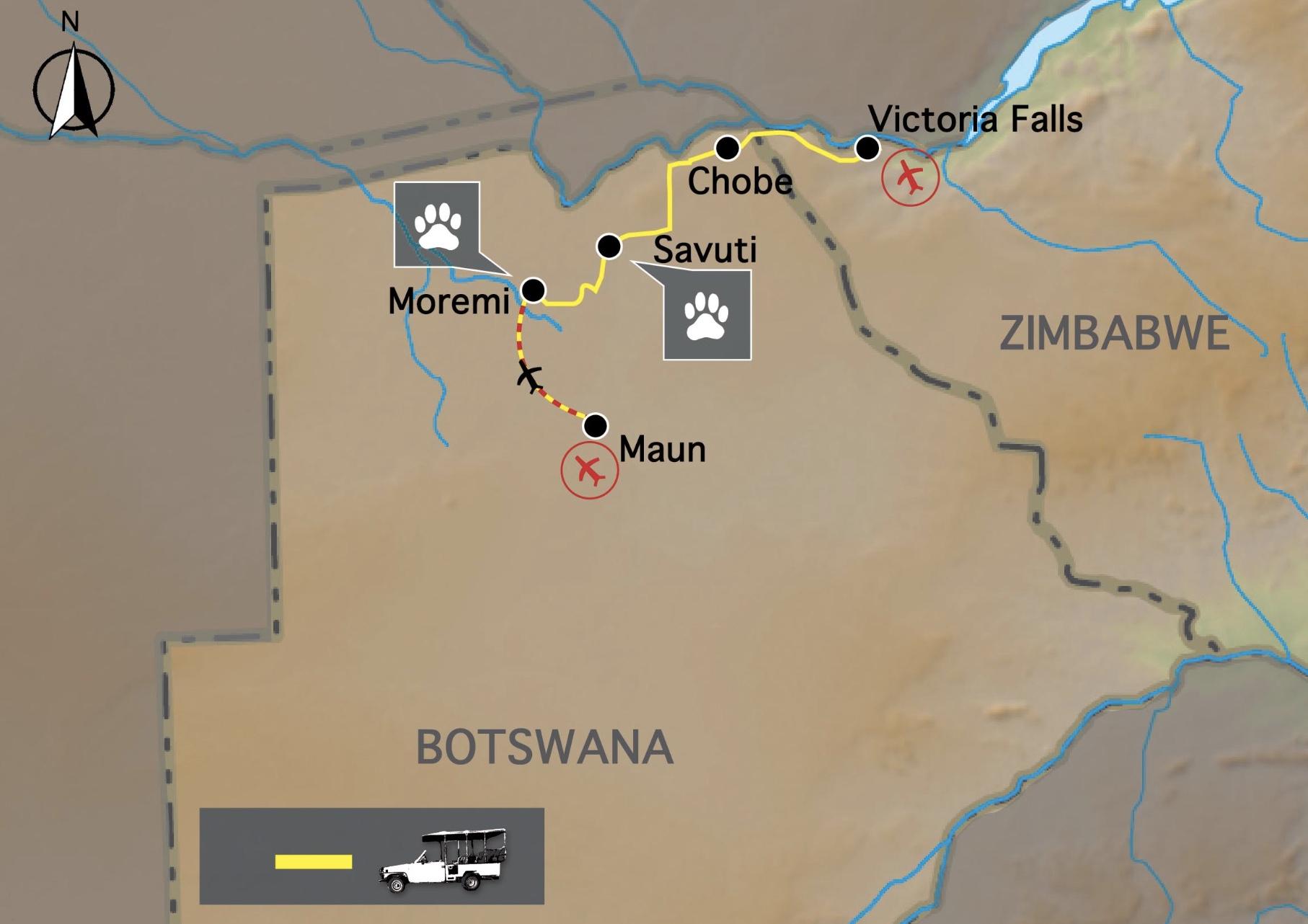 Carte circuit afrique botswana chutes victoria