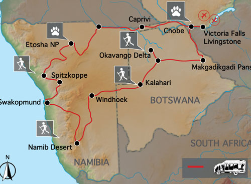 Carte Namibie Bostwana Samsara Voyages