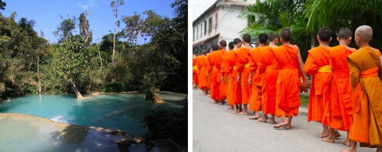 Moines sources chaudes Luang Prabang Laos