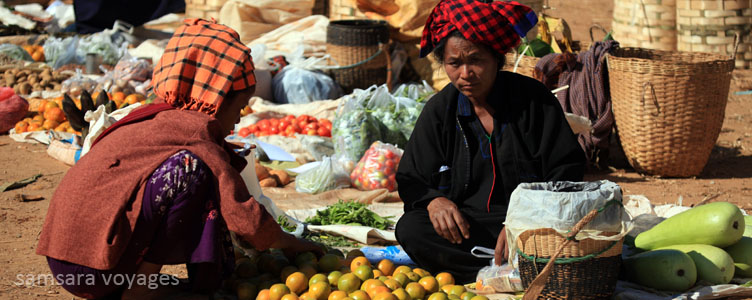 Marché lac Inle Myanmar Samsara Voyages